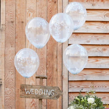 White Confetti Balloons - pack of 5